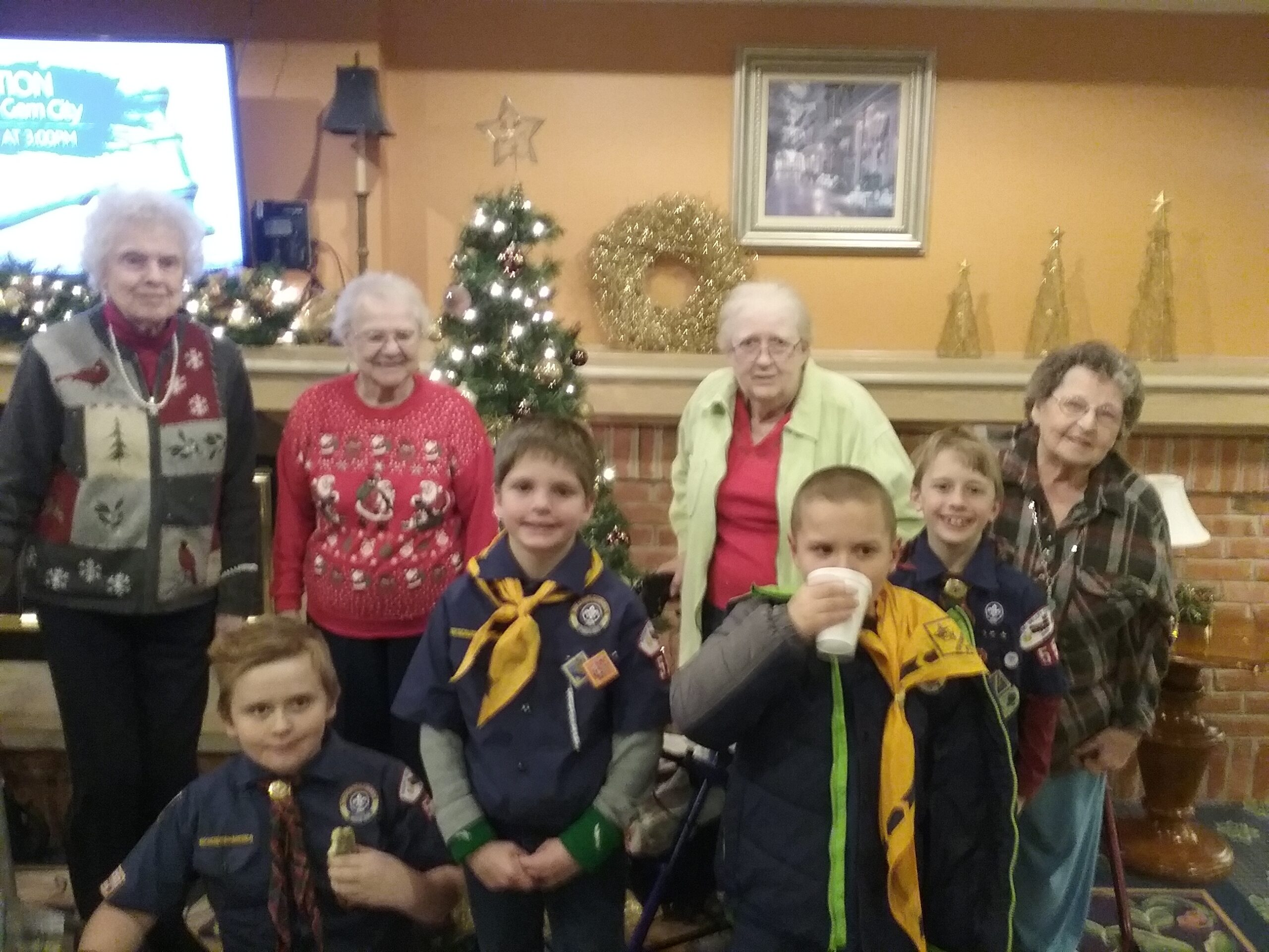 Cub Scouts and Seniors Enjoy Hot Choc after the Performance