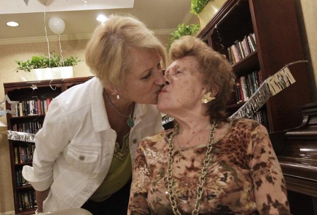 Marcella Strutt kisses her mother Lucille Wojciechowski