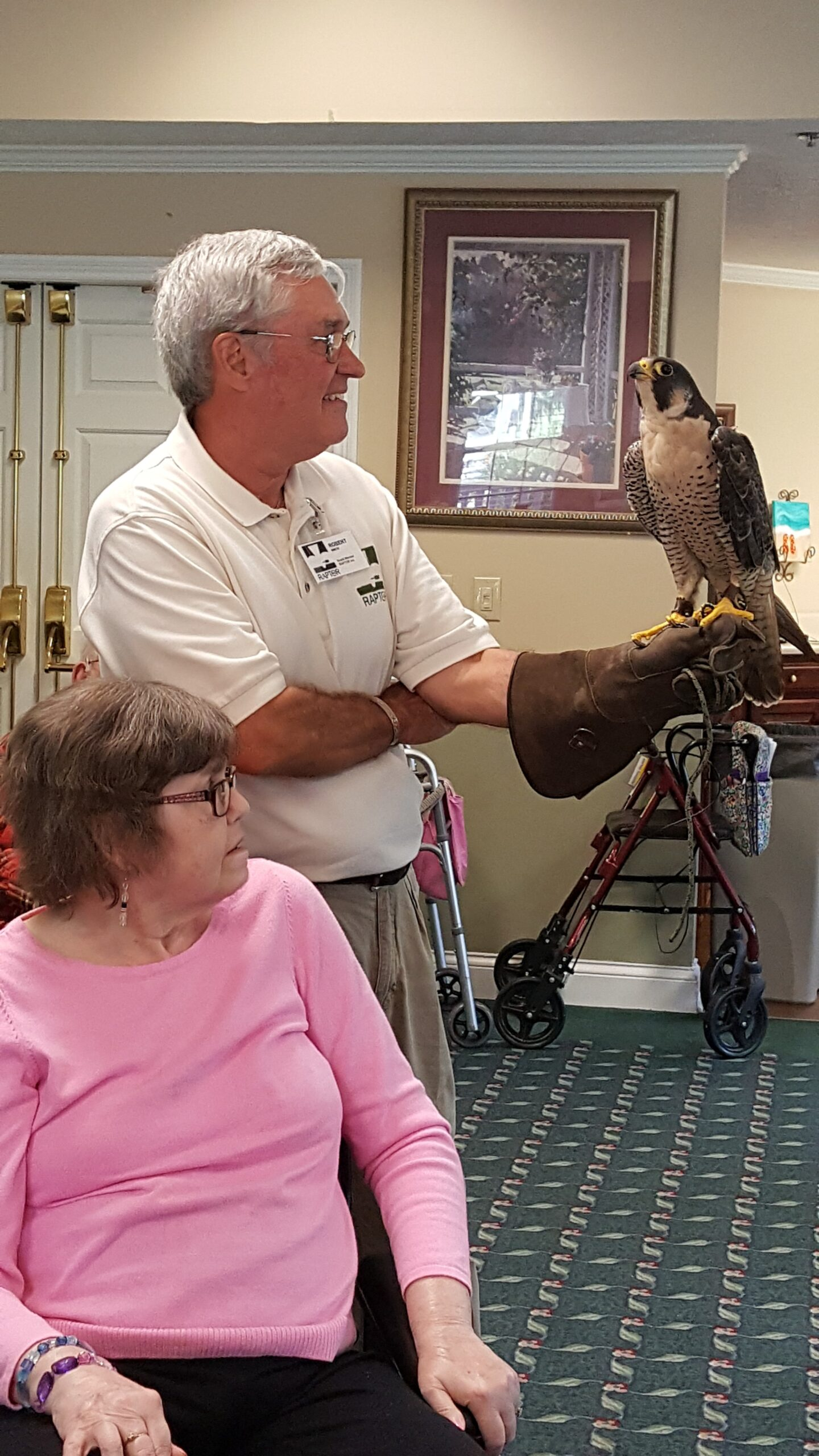 Resident Kay Locke gets to know Earl the Vulture as Robert from Raptor Inc holds him