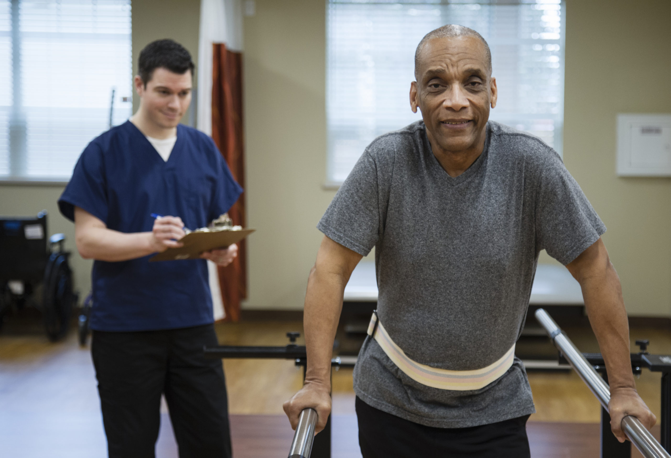 Patient having physical therapy in hospital